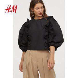 New H&M Black Taffeta Ruffle Sleeve Blouse in M